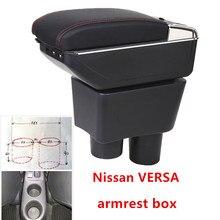 Для Nissan Sunny, Versa подлокотник коробка зарядка через usb повысить двойной слой центральный магазин содержание держатель стакана, пепельница аксессуары