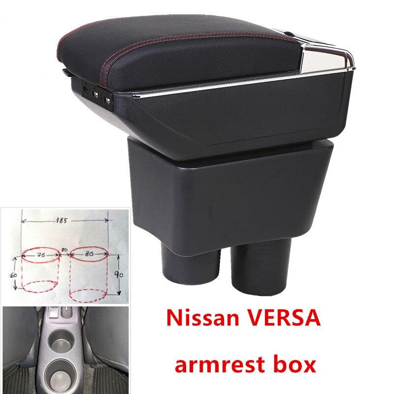 Para Nissan Sunny Versa heighten Dupla camada central Armazenar conteúdo caixa braço de Carregamento USB suporte de copo cinzeiro acessórios