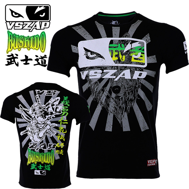 VSZAP BUSHIDO BUSHIDO Martial Arts MMA Fight Short Sleeve T-shirt Male Sports Fitness  Wulin Muayin Muaythai