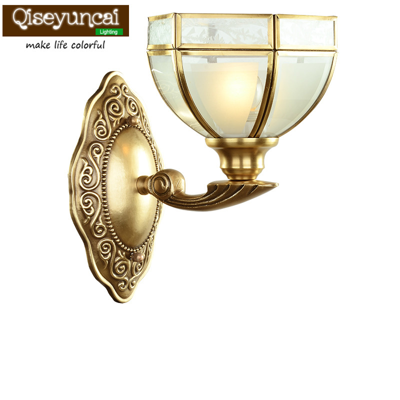 Qiseyuncai European style living room copper bronze wall lamp Jane European TV wall background bedroom bedside copper wall lamp