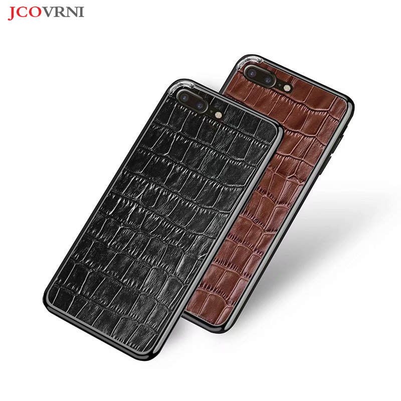 JCOVRNI 100% leather crocodile pattern skinned metal frame 2 in 1 back cover for iphone XR XS 7plus8 8plus ultra-thin phone case