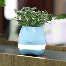 Onleny Smart Беспроводной LED Bluetooth Динамик музыка завод Цветок сенсорный зондирования pots Водонепроницаемый розовый сине-белые Цвет Бесплатная