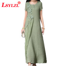 Dress 2018 Crochet Flower Vintage Cotton Linen Women Summer Maxi Dress Silk Patchwork Casual Long Dress Vestidos de festa B164(China)