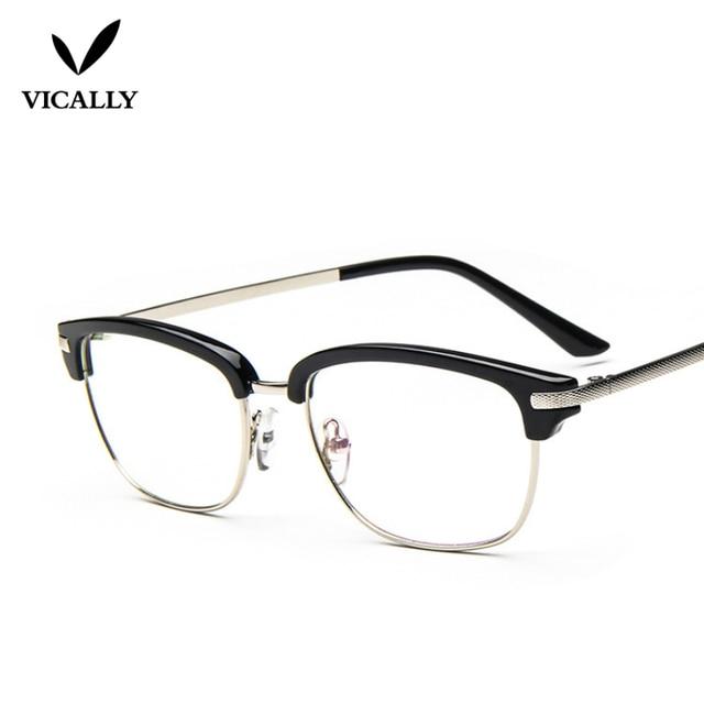 Semi Rimless Black Eyeglasses Retro Stylish Reading Glasses Frame ...
