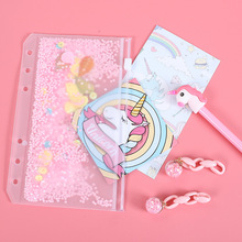 A5A6 Cute Sequin Loose Leaf Storage Bag For Notebook Diary Planner 6 Hole PVC Zipper Pouch Case DIY Spiral Index Paper Organizer never rose series 6 hole loose leaf planner dividers bookmark index page for dokibook spiral notebook 6 sheets school stationery