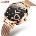 OLEVS розовое золото  часы для женщин  в форме сердца  черные  для девушек  Топ бренд  кристалл  роскошные светящиеся наручные часы для девушек  ...