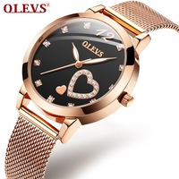 OLEVS Rose Gold Watch Women Heart shaped Black Ladies Top Brand Crystal Luxury luminous Wrist Watch Girl Clock bayan kol saati