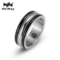 WelMag Men S Trendy Party Hematite Health Magnetic Ring Bio Energy Healing Stainless Steel Wedding Band