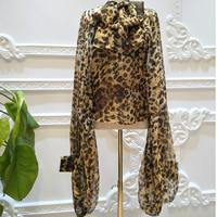 Women Fashion Leopard Print Chiffon Blouse Spring Summer Super Long Lantern Sleeve Bowknot Round necked Shirts Blusas Basic Tops