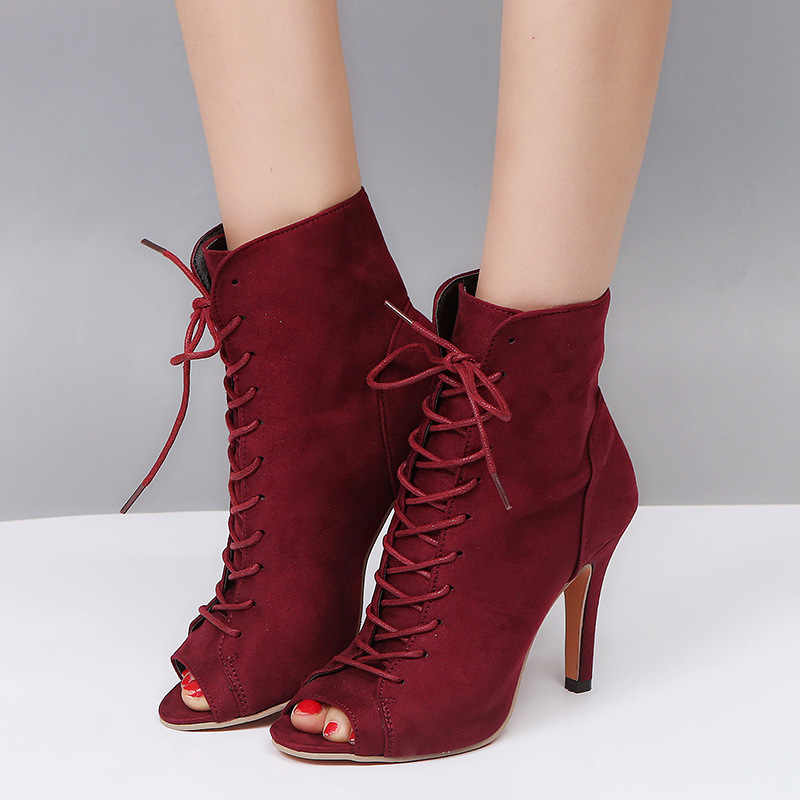 6dea0745935a 2018 Gladiator High Heels Women Sandals Booties Open Toe Lace Up Pumps Shoes  Woman Boots