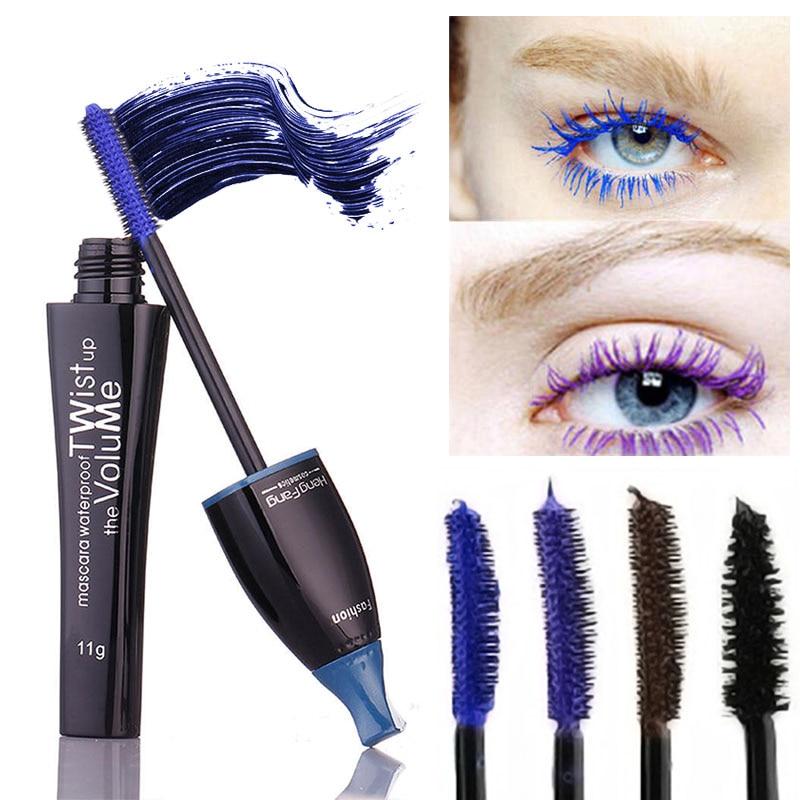 Nuevo Maquillaje Cosmético Mascara Longitud Extensión Larga Curling Pestañas Máscara Azul Marrón Púrpura Pestañas Mascara M01097