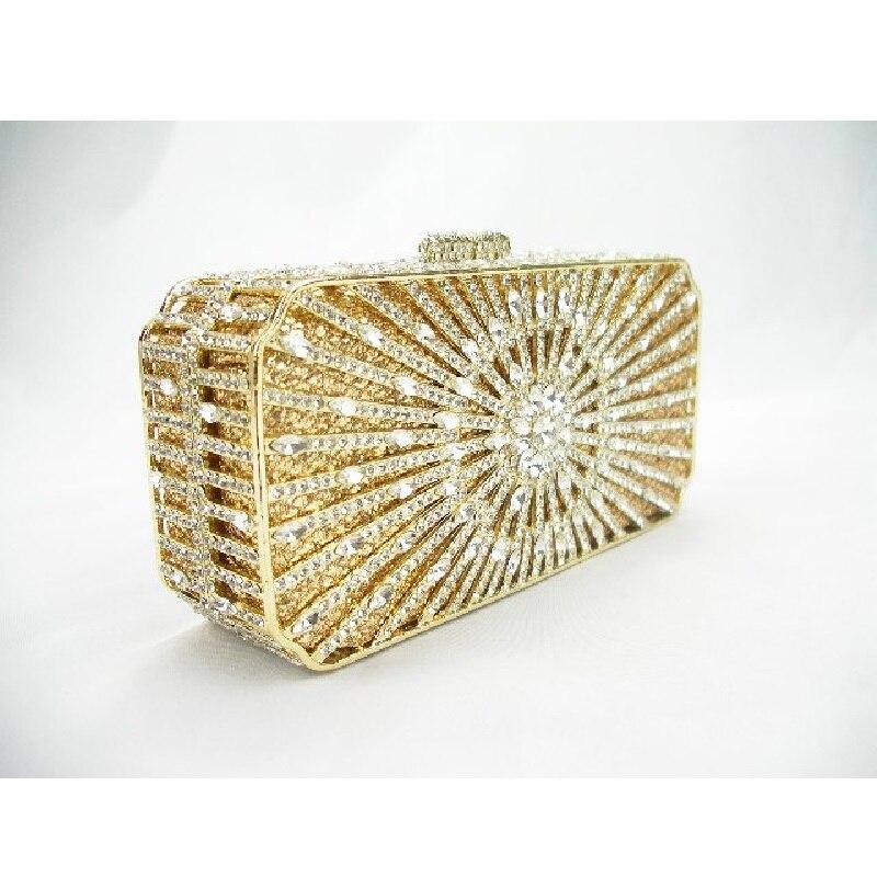 ФОТО 8253 crystal Treasure box Clear crystal on Golden case Wedding Bridal hollow Metal Evening purse clutch bag case handbag