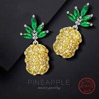 100% 925 sterling silver pineapple earrings with AAA grade yellow stones 925 silver fine jewelry for women (DE570)