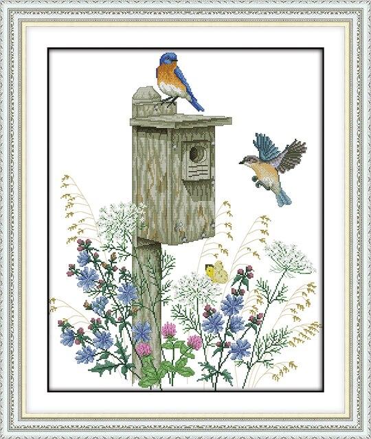 Die Vogel Hause Stickerei handarbeiten Handwerk Stickerei Kreuzstich ...