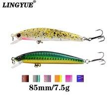 Купить с кэшбэком LINGYUE 8.5cm/7.5g Fishing Lures High Quality Sinking Minnow Wobblers Tackle 5 Colors Lifelike Plastic Fake Fish Bait Pesca