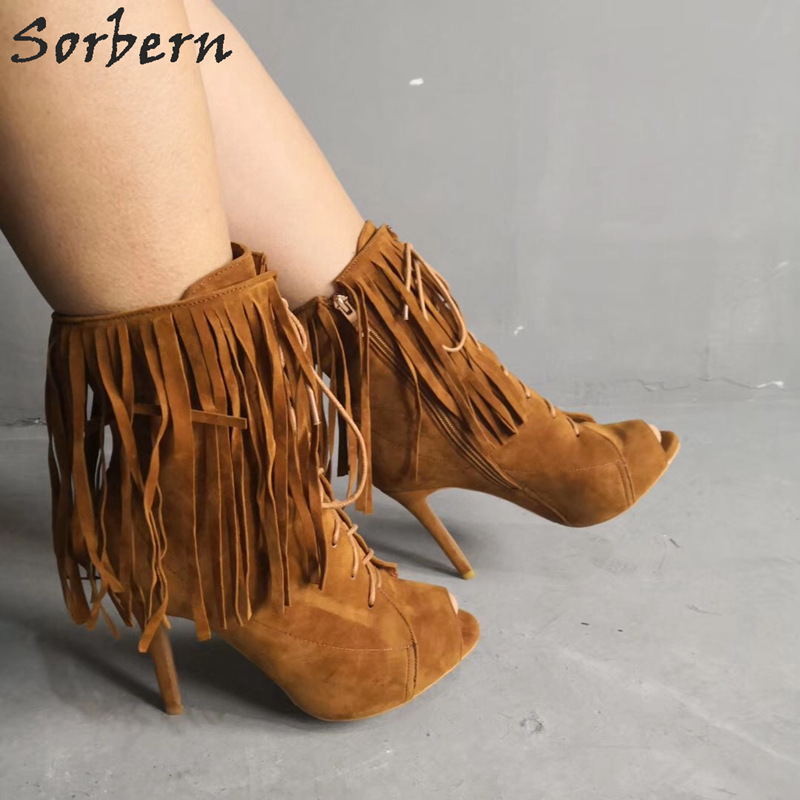 Sorbern Ankle Boots For Women Peep Toe Lace Up Tassel Botas Mujer 2019 Luxury Boots For Ladies Big Size Shoes Woman Boot