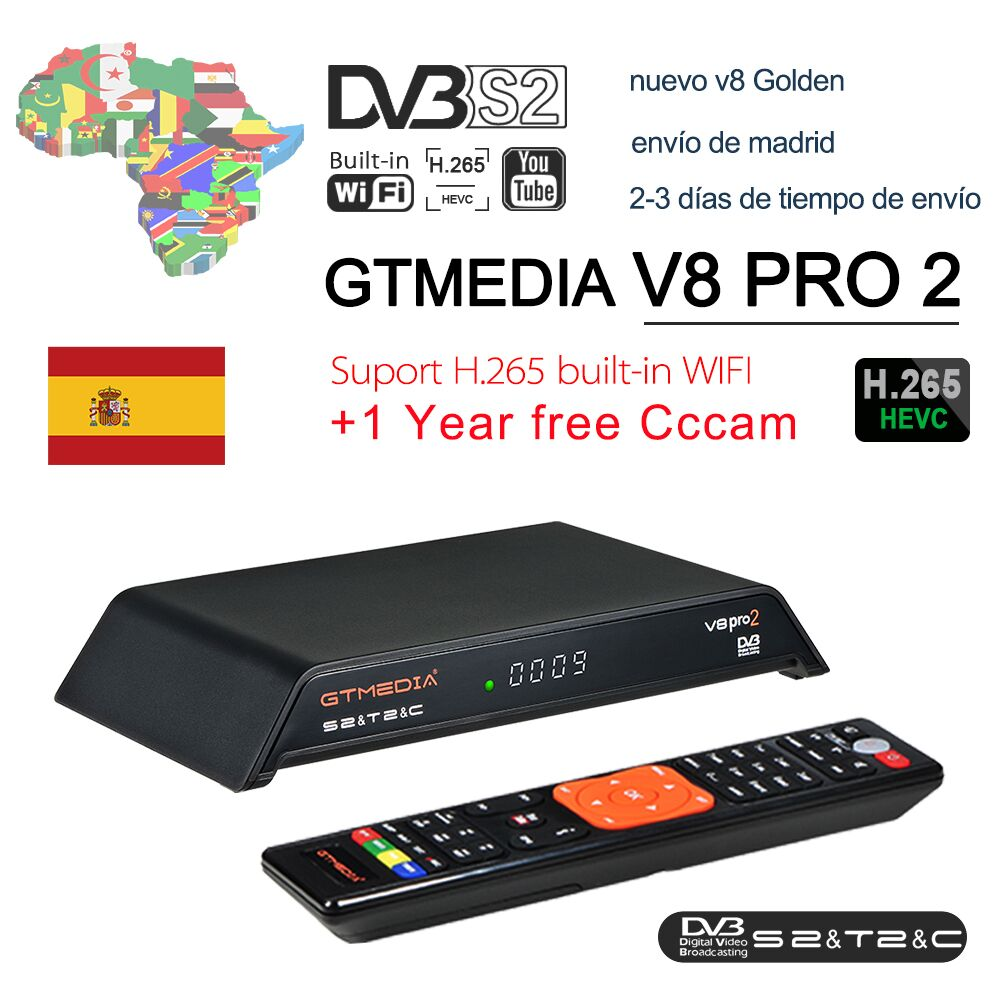 GTmedia V8 PRO2 Combo Satellite Receiver With Free 1 Year Europe 5 Clines Cccam Server Support DVB-S2+T2/C Biss Key Pk V8 Golden