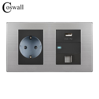 Coswall 16A EU Standard Wall Socket USB Charging Port For Mobile 1 Gang 2 Way Switch