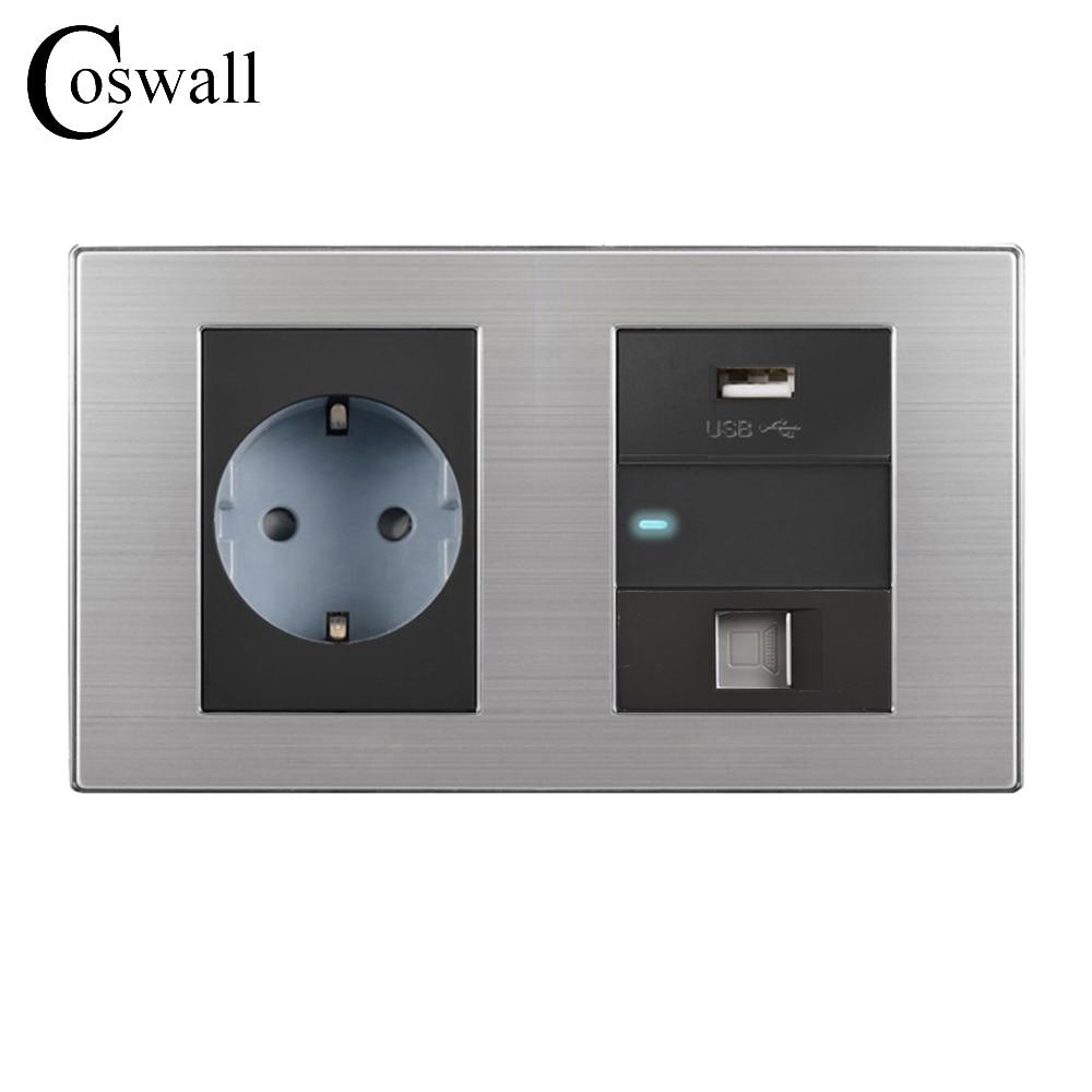 Coswall 16A EU Standard Wall Socket + USB Charging Port For Mobile + 1 Gang 2 Way Switch LED indicator + RJ45 Internet Jack 2 port rj45 network connectors w led indicator silver 4 pcs