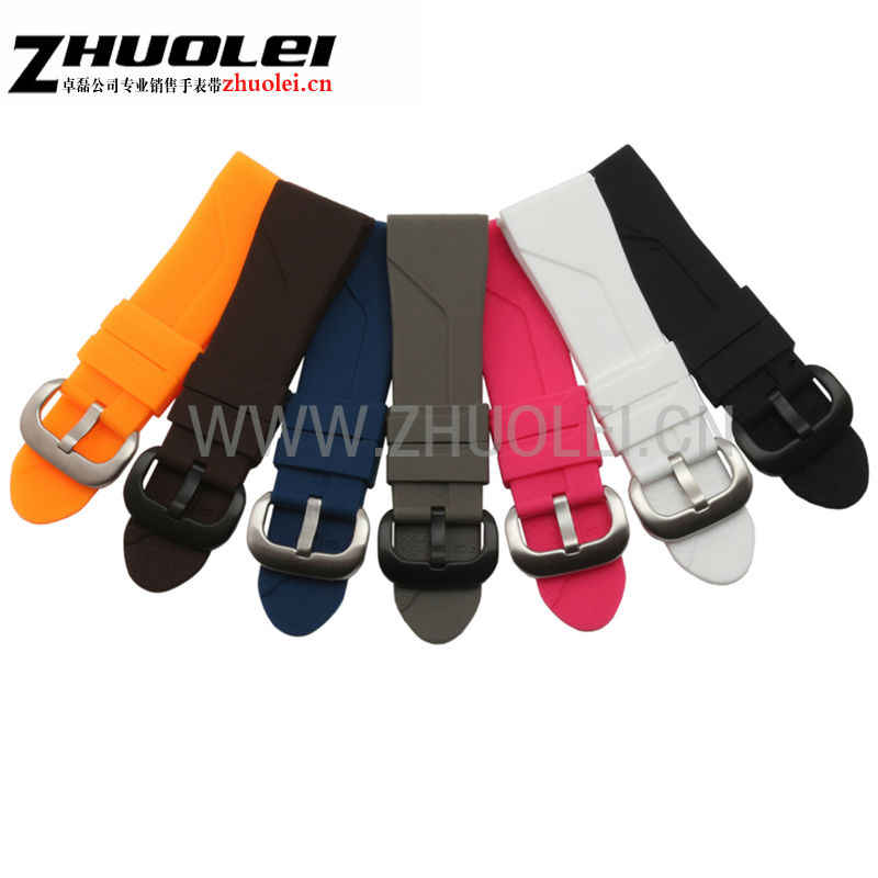 28mm Dark blue Black white gray orange Rubber Watchband men's women's rubber Waterproof silicone bracelet watch strap