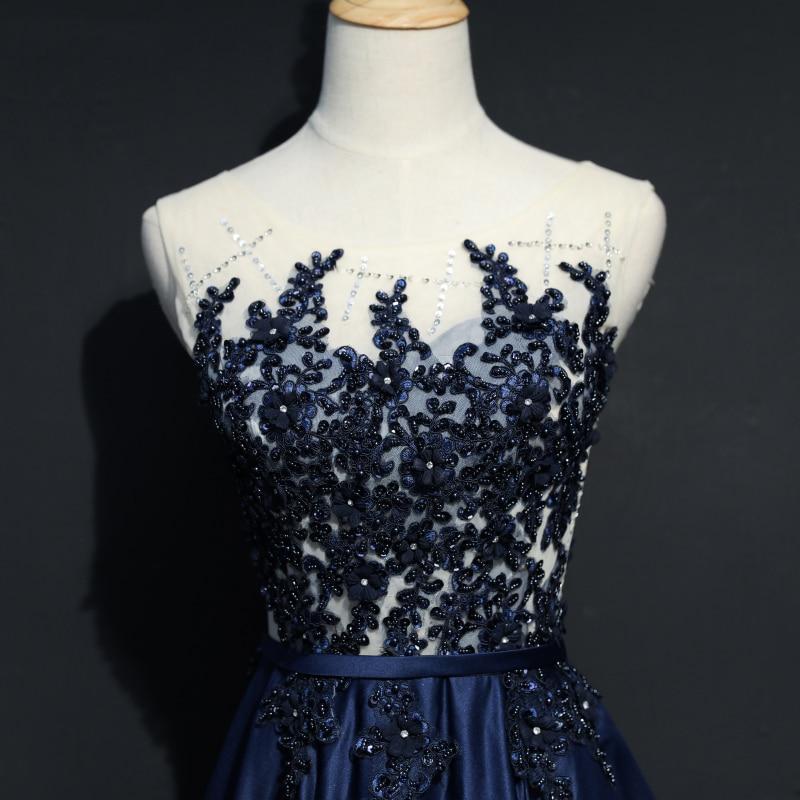 Navy Blue Long Evening Dresses Party Kvinner En Line Skreddersydd - Spesielle anledninger kjoler - Bilde 5