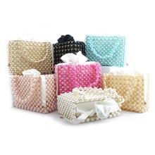Top Pearl Handbag Hollow Out Evening Bag Clutch For Women 2019 Beading Handbags Wallet Totes bolsa feminina Handle Bag Colorful pearl beading frilled sleeve top