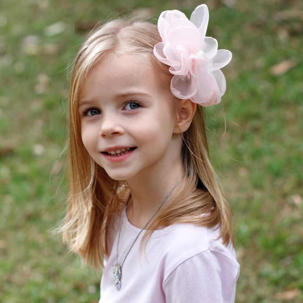 2019 г. Новинка, 5 дюймов, Шифоновый Цветок, заколка для волос для девочек, розовый и серый цвет, красивая заколка для волос для детей, принцесса, аксессуары для волос для девочек