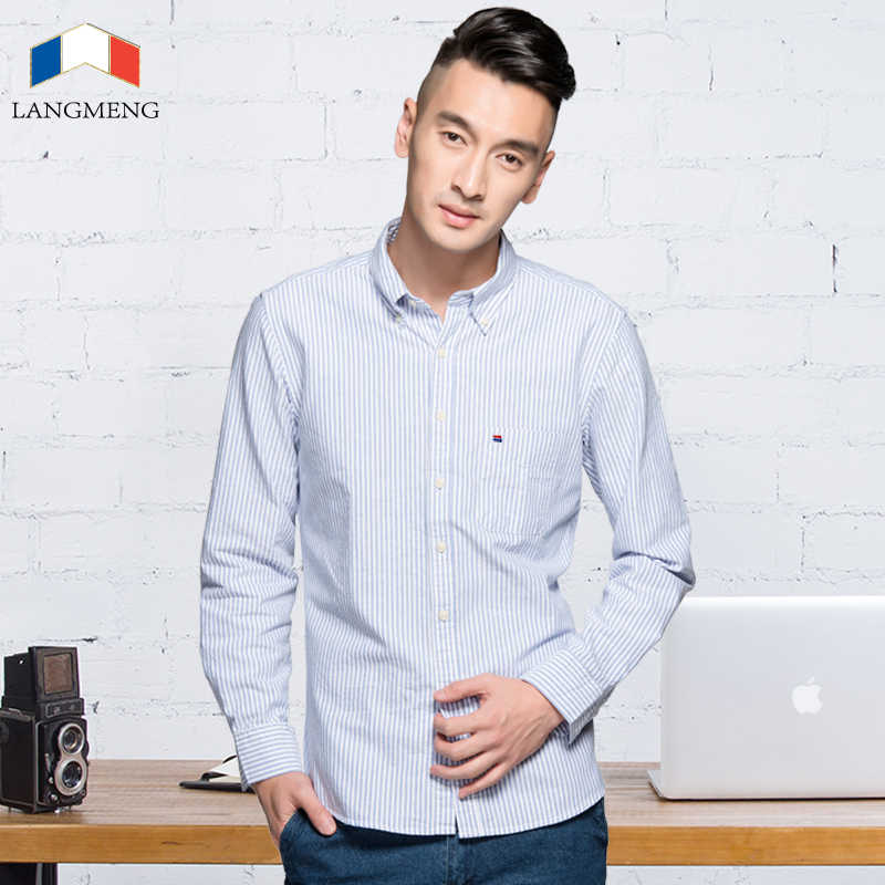 LANGMENG 2018 新着長袖シャツコットンフォーマルなドレスシャツ男性ファッションスリムフィットカジュアルシャツ男性