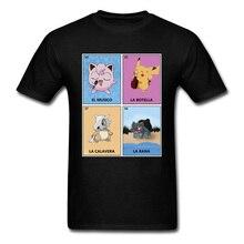 Jigglypuff T-shirt 2019 Men Pokemon Tshirt Kawaii Male Anime T Shirts Pocket Monster Game Tops Cotton Black Tees Pikachu Print недорго, оригинальная цена