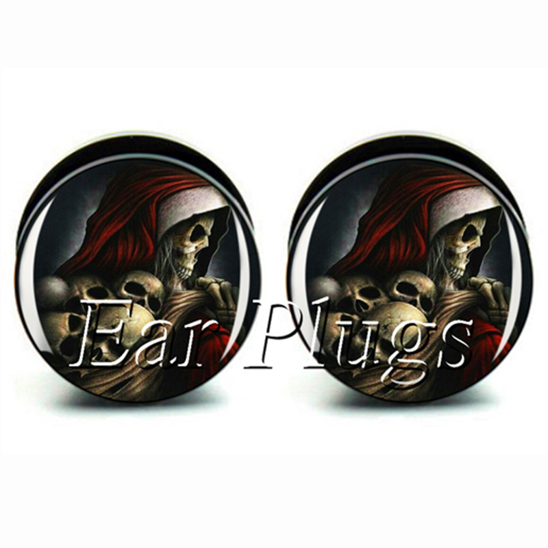 Wholesale 60pcs skull reaper plug acrylic screw fit ear plug flesh tunnel ear gauges mix sizes 6mm-25mm A0514