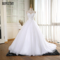 BEPEITHY Real Photo Vestido De Noiva New Design Scoop Noble Lace Tulle Appliques Ball Gown Wedding Dresses 2017