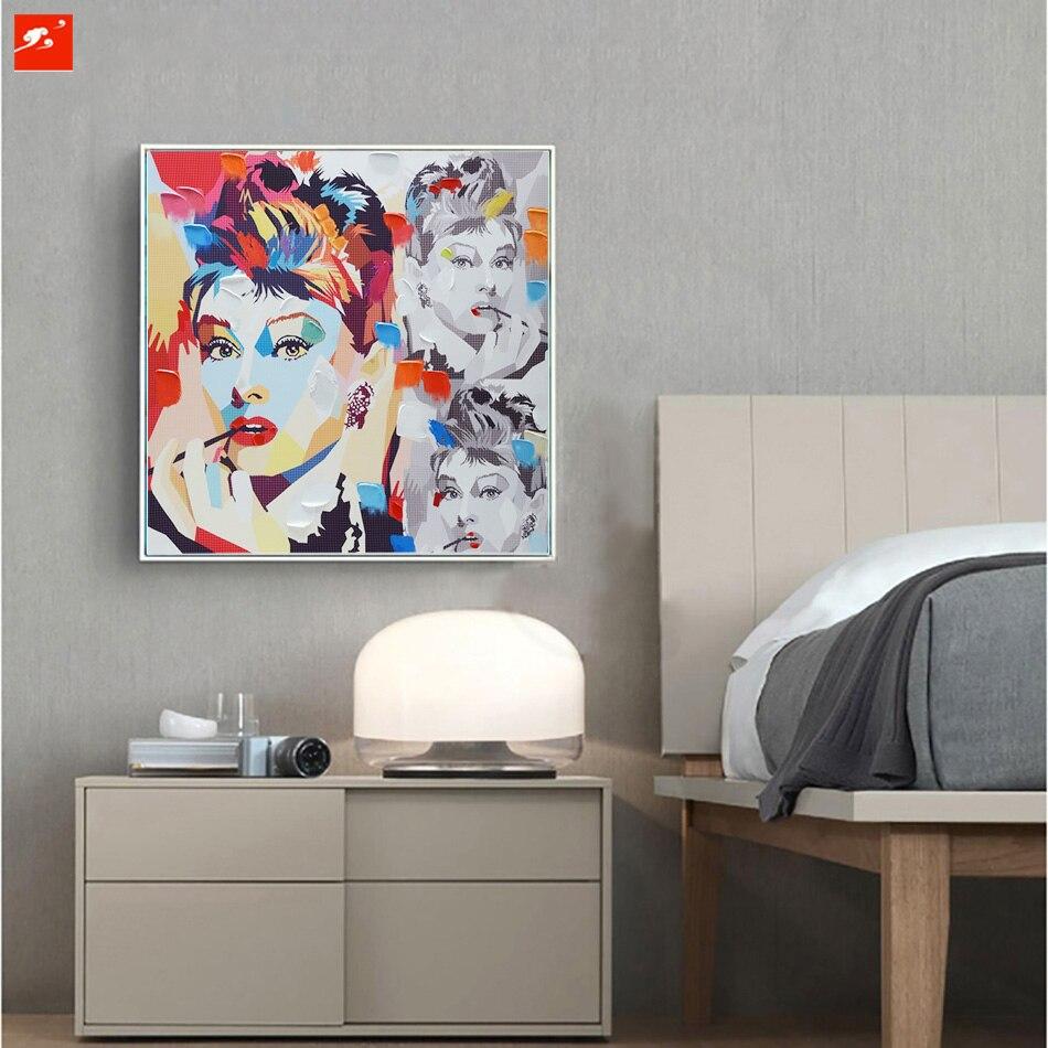 Graffiti art home decor - Aliexpress Com Buy Audrey Hepburn Pop Colour Street Graffiti Art Decorative Figure Poster Canvas Print Home Decor Picture Wall Art For Living Room From