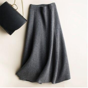 2019 new cashmere long skirt wool knit a word skirt female long section high waist solid color loose umbrella skirt skirt 3