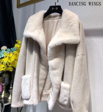 Autumn Winter Import Mink Coats Stiching Knit Long Sleeve Fashion Motorcycle Jacket Women Real Fur Coats(China)