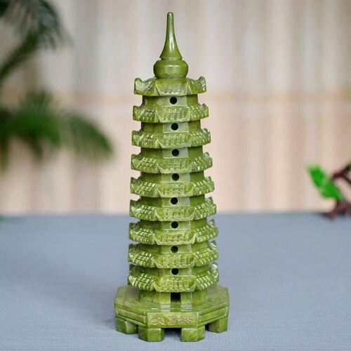 Tour de lumière en jade naturel de décoration Wenchang stylo à neuf couches aide à tester l'artisanat universitaire florissant Zhaocai