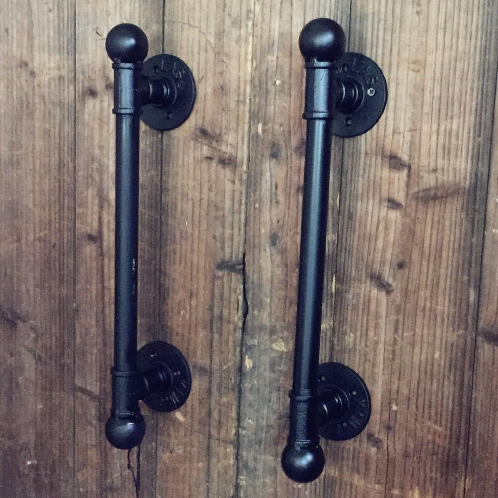 12 / 30CM American Rural Antique Black Door Handle Handles Pull Pulls Water Iron Pipe entrance door handle solid wood pull handles pa 377 l300mm for entry front wooden doors
