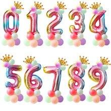 16pcs 1st Aniversário Balões Número Coroa Balão Feliz Aniversário Decoração Do Partido Crianças Unicórnio Do Arco Partido Ballon Digitais