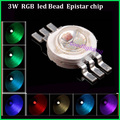 50pcs/lot led bead 3W RGB led chip 300mA 3.0-3.6V Epistar chip led diode lighting sources for led bulb/led lamp