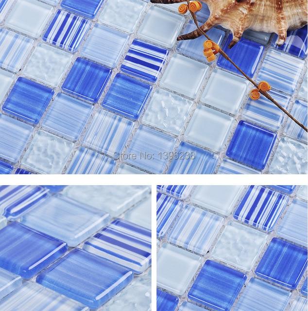 Azul azulejo mosaico de vidrio para piscina backsplash de la cocina ...