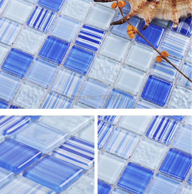 Blue Glass Mosaic Tile for Pool Kitchen Backsplash Wall Tiles High Quality Bathshower background Luxury home Wall Paper,LSC101 ocean blue pearl shell mosaic tile gray natural marble kitchen backsplash sea shell tiles subway glass conch wall tiles lsbk53
