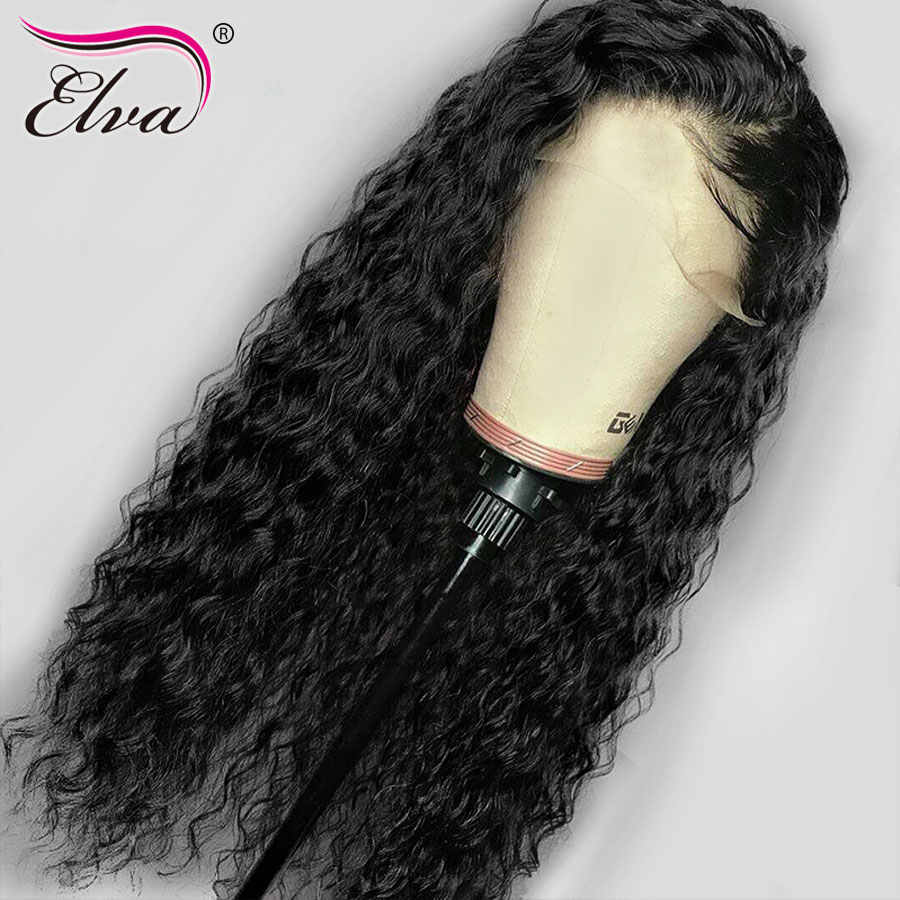 Волосы ELVA полный шнурок человеческих волос парики перуанский вьющиеся парик человеческих волос предварительно выщипанные волосы с ребенком волос Волосы remy парики, кружева