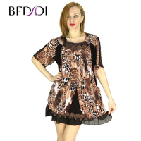2015 Summer Women Dress Chiffon Leopard Print Fake Two Piece Half Sleeve Square Collar Club Party