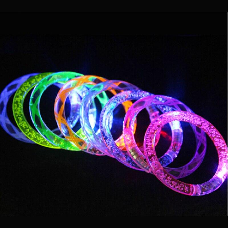 100pcs/lot LED bracelet light up flashing Glowing bracelet Blinking Crystal Party Novelty kids toys Disco Christmas Gift Lights