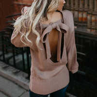 2018 Fashion Backless Bow Soft Thin Sweaters Jumper FemaleO Neck Sweater Women Loose Long Sleeve Knitting Pullovers SW1816