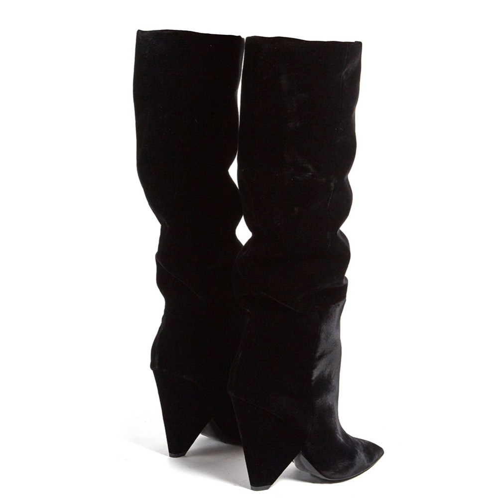 199c98b437c Fashion Pointed Toe Ladies Long Tall Boots 2018 Black Velvet High Cone Heel  Wedge Over The Knee Shoes Winter Slouch Boots Women-in Over-the-Knee Boots  from ...