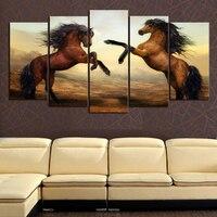 프레임이없는 5 개 갈색 말 사진 인쇄 회화 현대 캔버스 벽 예술 벽 장식 홈 장식 작품