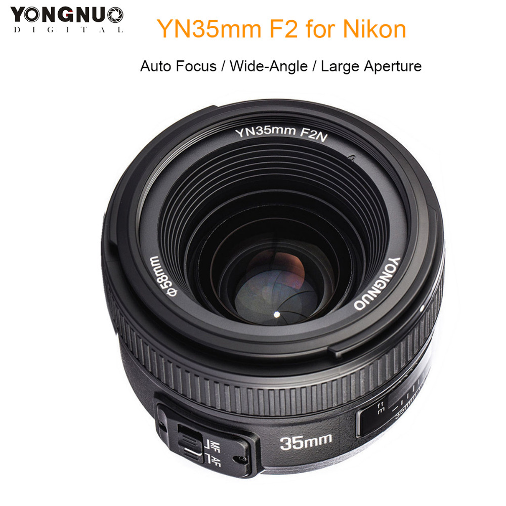 YONGNUO YN35MM F2N AF MF 35mm F2.0 Large Aperture Wide-Angle Fixed Prime Auto Focus Lens for Nikon DSLR Camera D5300 D7200 D800YONGNUO YN35MM F2N AF MF 35mm F2.0 Large Aperture Wide-Angle Fixed Prime Auto Focus Lens for Nikon DSLR Camera D5300 D7200 D800