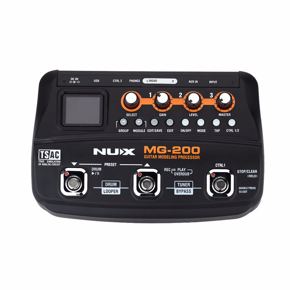 Nux MG-200 Guitar Modeling Processor Multi-effects with 55 Effect Models Top Quality Guitar Parts&Accessories nux mg 20 electric guitar multi effects pedal guitarra modeling processor with drum machine eu plug