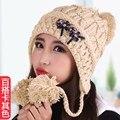 Шапка женская вязаная шерстяная шапка зимняя шапка вязаная тепловая защита ухо колпачок носком защитная крышка принцесса шляпа утолщение флис