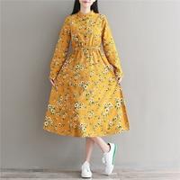 Fall Clothes 2017 New Autumn Clothing Women Full Sleeve Floral Print Corduroy Dresses Mori Girl Sweet